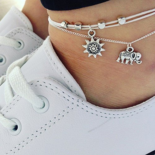 Beaded Elephant - Shineweb Women Bohemian Beaded Elephant Sun Chain Anklet 3 Layers Jewelry Summer Barefoot Beach Anklet