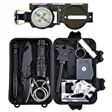 Survival Gear Kit 11 in 1, Tianers Professional Outdoor Emergency Survival Tool with Military Compass, Survival Knife, Saber Card, Fire Starter, Whistle, Tactical Pen for Travel Hike Field Camp