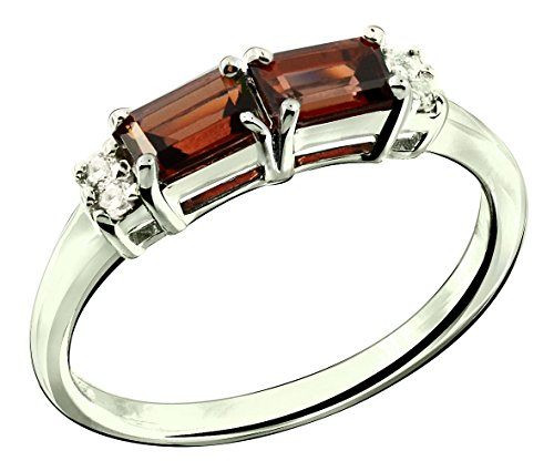 RB Gems Sterling Silver 925 Ring Genuine GEMS (London Blue Topaz, Garnet) 0.92 Ct Rhodium-Plated Finish (6, Garnet) ()