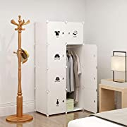 KOUSI Portable Clothes Closet Wardrobe Bedroom Armoire Dresser Cube Storage Organizer, Capacious & Customizable, White, 5 cubes&1 Hanging Section