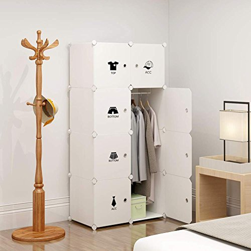 kousi portable clothes closet wardrobe bedroom armoire dresser cube storage organizer capacious customizable white 5 cubes1 hanging section - Small Wardrobe