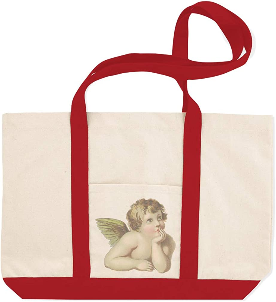 Canvas Shopping Tote Bag Angel Looking up Vintage Look Angel Beach Bags for Women