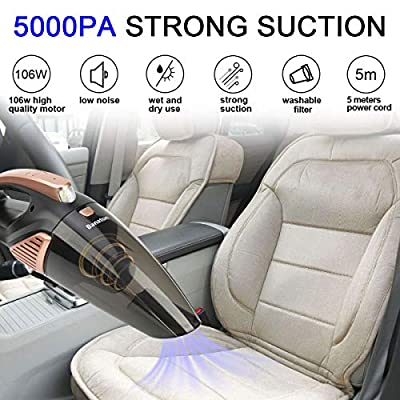 Banaton Car Vacuum Cleaner 5000PA 106W 12V Car Vacuum with LED Light Low Noise Wet and Dry Use Auto Vacuum Cleaner with 16.4FT(5M) Cord and Carrying Bag for All Vehicles: Automotive