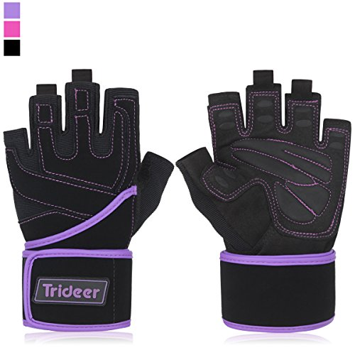 "Trideer Padded Anti-Slip Weight Lifting Gloves with 18"" Wrist Wraps, Pro Gym Gloves Support for Weightlifting, Cross Training, Gym Workout, Fitness, Bodybuilding (Purple, L (Fits 7.9-8.6 Inches))"