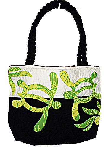 HAWAIIAN HONU TURTLE QUILTED PUALANI BAG PURSE -BLACK/GREEN by East of Maui Hawaiian Store