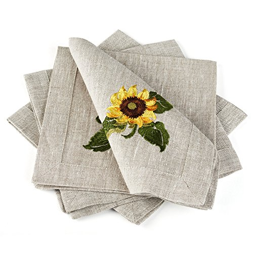 "Linen Cloth Table Napkins Sunflowers with Embroidery — Soft and Durable — Set of 4, 16"" x 16"" — Premium Quality — Eco-Friendly 100% Pure European Flax Linen Fabric"