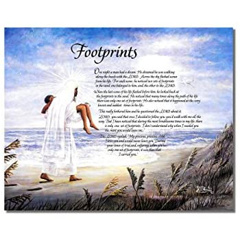 Amazon.com: Footprints in the Sand Christian Religious Wall Picture ...