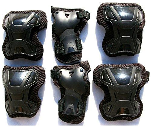 Schutzausrüstung 6 tlg. Set Gr. M schwarz-schwarz Ellenbogen Knie Handgelenkschützer für Roller Skate Inliner