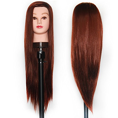 "Price comparison product image HAIREALM 26""-28"" Mannequin Head Hair Styling Training Head Manikin Cosmetology Doll Head Synthetic Fiber Hair (Table Clamp Stand Included) SJ33P"