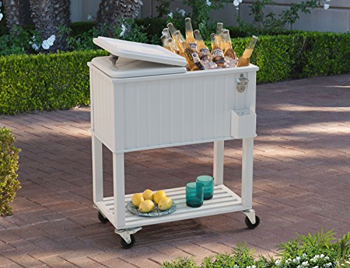 Outdoor Beverage Cooler (Sunjoy 60 quart Wheeled Beverage Cooler with Faux White Wood Finish with Shelf)