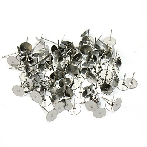 mm Silver Plated Flat Base Pad Earring Make DIY Posts Studs Jewelry (Pins Earrings Silver Plated)