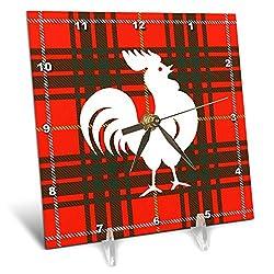 3dRose Russ Billington Designs - Proud Little White Rooster on Red Tartan Background - 6x6 Desk Clock (dc_287510_1)
