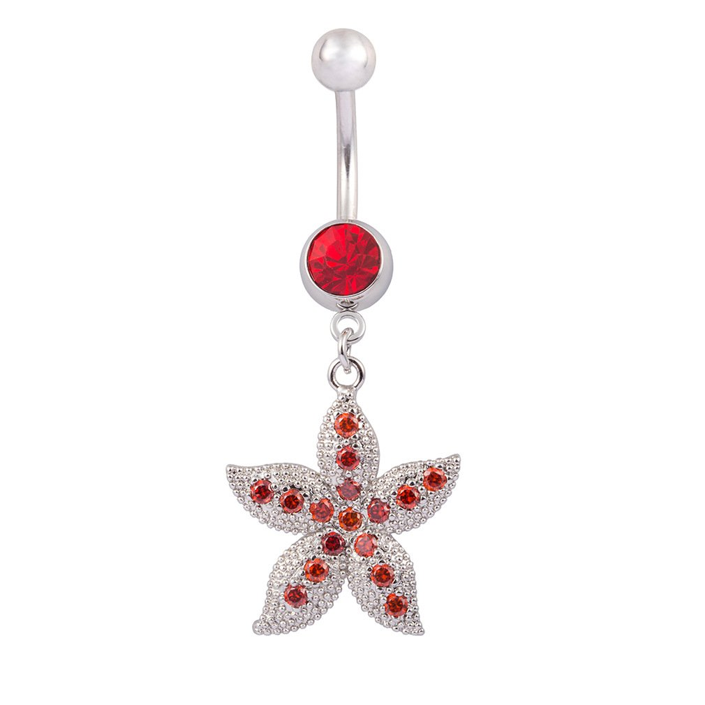 Fashion Women Body Piercing Jewelry 14G Hypoallergenic Stainless Steel Cubic Zirconia Belly Button Ring Navel Rings Punk Colorful Starfish Dance Decoration Red