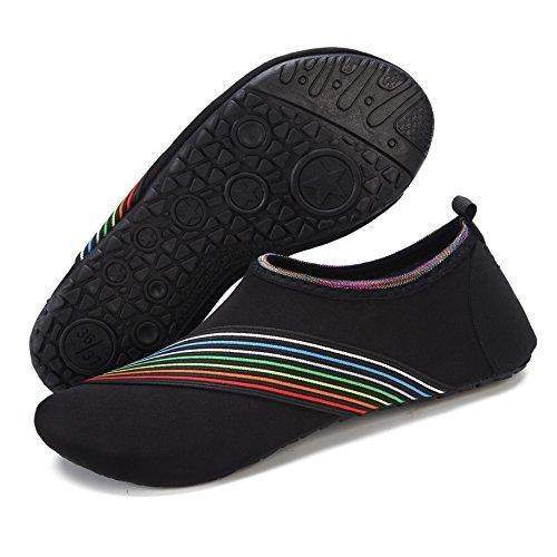 Wxdz Damesschoenen Voor Heren Sneldrogend Blootsvoets Aqua Sokken Voor Zwemmen Strand Surf Zwembad Yoga Schuine Rand Zwart