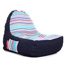 Style Homez Urban Design Denim Canvas Stripes Printed Chair Bean Bag XXL Size Cover Only