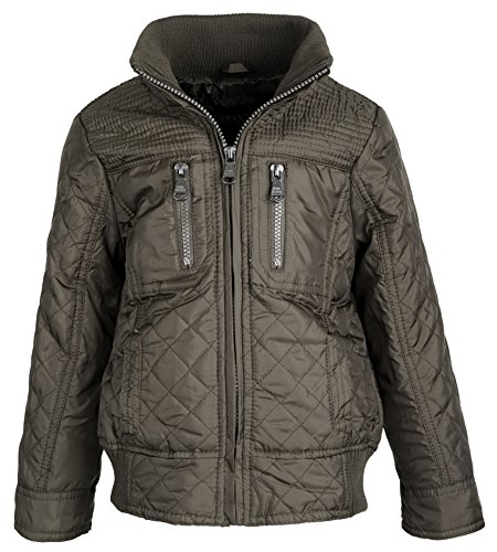 Urban Republic Boys Lightweight Padded Diamond Quilted Spring Rain Jacket - Olive (18 - Gallery Tan Lines