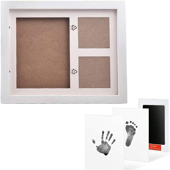 Wei/ß /& Handabdruck mit Fotorahmen-Kit als Andenken Baby Inkpad Fu/ß