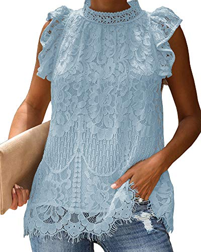 Valphsio Womens Lace Crochet Sleeveless Tops Ruffle Mock Neck Clubwear Blouse Tops