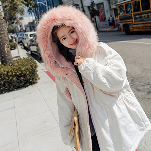 Xuanku Corduroy Cotton Clothing Women In The Long Section Of Thick Loose Loose Waist Collar Feather Cotton Jacket White
