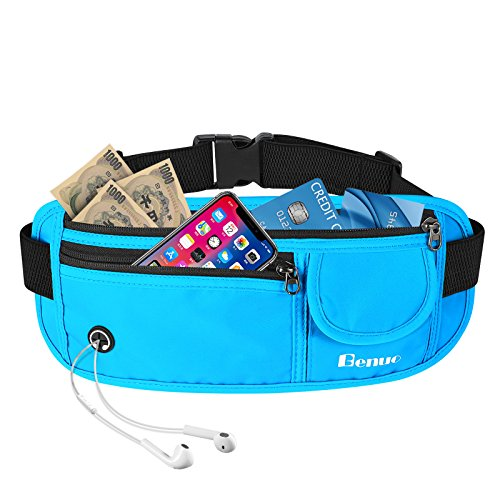 Benuo Waist Bag Pack Waterproof Men and Women Travel Bag with Adjustable Belt Strap for Outdoors Workout Traveling Casual Running Hiking Cycling Blue