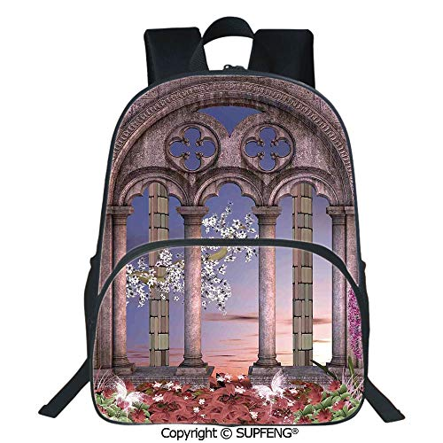 - SCOXIXI Square Front Bag Backpack Ancient Colonnade in Secret Garden with Flowers at Sunset Enchanted Forest (15.75