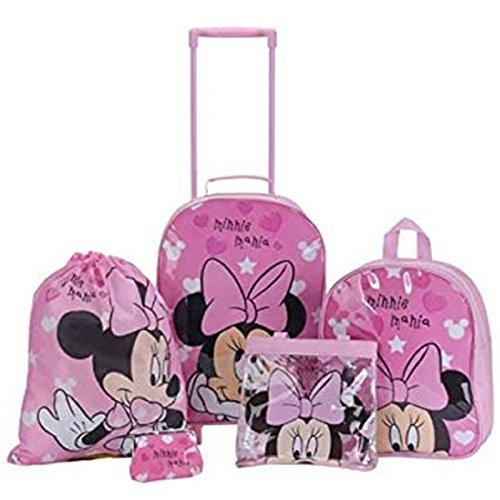Juego de mochilas escolares Disney, de Minnie Mouse con corazones rosa para niñas, 5 unidades, con mochila, mochila con ruedas, bolso de mano, ...