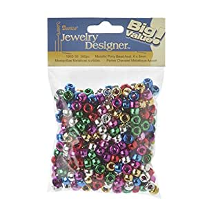 Darice 380-Piece Metallic Pony Beads, 6 by 9mm Assorted Colors