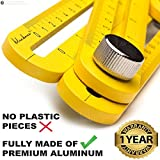 Heavy Duty Aluminum Multi Angle Measuring Ruler for DIY Workers | Industrial Grade Template Tool | Tile Flooring + Free Protective Pouch and Manual, Gift for Men Women Xeroly Layout Tools by Bluebana