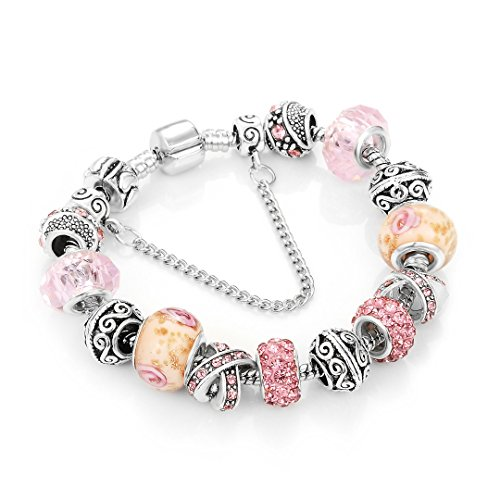 Little Kid Snake Girl - European Ribbon Charm Bracelet For Women Crystal Beads Snake Chain Bracelets Silver Color Jewelry A2 18cm