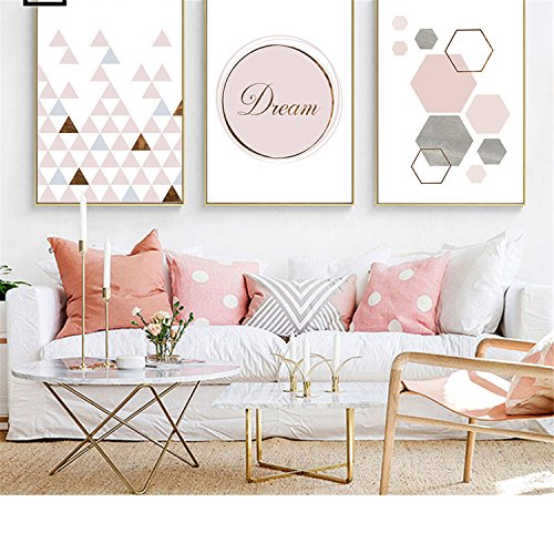 Price comparison product image Pink Geometry Canvas Art Posters and Prints Abstract Painting Nordic Style Wall Pictures Picture 2 A4 21x30cm No Frame
