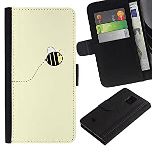 iKiki Tech / Cartera Funda Carcasa - Cute Yellow Bumblebee Summer - Samsung Galaxy S5 Mini, SM-G800, NOT S5 REGULAR!