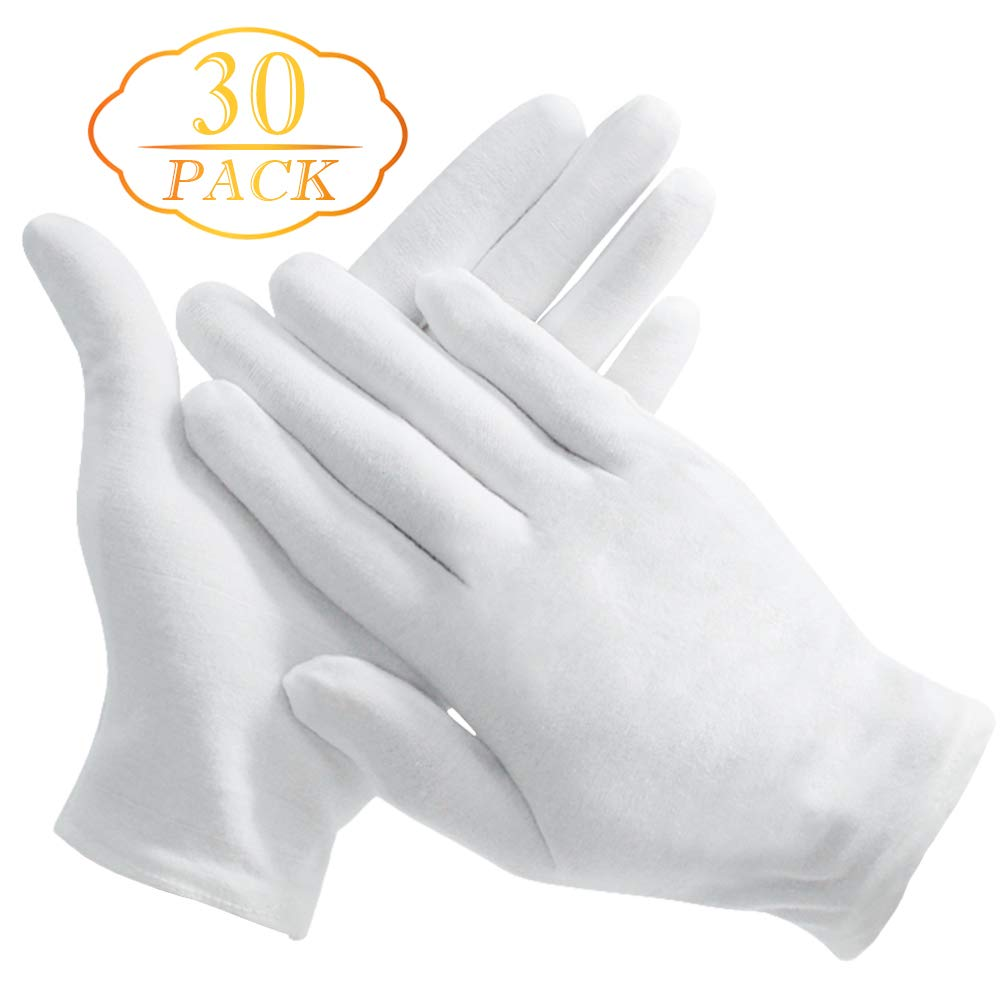 15 Pairs White Soft Cotton Gloves, Coin Jewelry Silver Inspection Gloves, Stretchable Lining Glove, Large Size