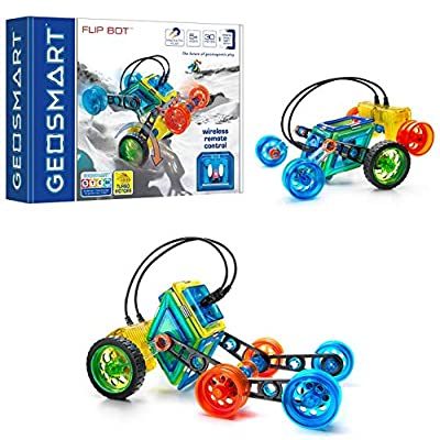 GeoSmart Flip Bot - Build Remote-Controlled GeoMagnetic Vehicles with This STEM Focused Magnetic Construction Set Featuring Rechargeable Turbo Motors: Toys & Games