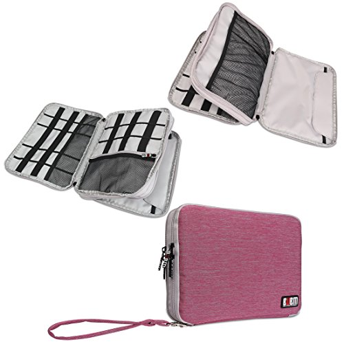 BUBM Large Double Layer Electronics Accessories Bag Travel Gear Organizer Phone Charger Cable Storage Bag (Rose-Red&Grey) by BUBM