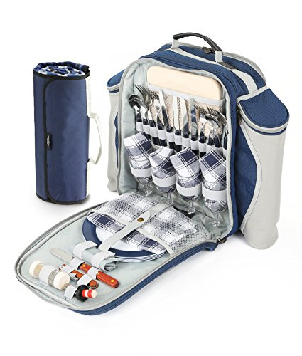 Greenfield Collection Deluxe Picnic Backpack Hamper for Four People in Midnight Blue with Matching Picnic Blanket - Fitted Backpack Range
