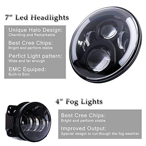 DOT Approved 7'' Black Cree LED Headlights + 4 '' LED Fog Lights for Jeep Wrangler 97-2017 JK TJ LJ