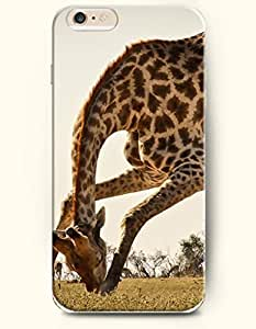 iPhone 6 Plus Case 5.5 Inches Giraffe Duck to Eat Grass - Hard Back Plastic Case OOFIT Authentic
