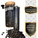 Manual Coffee Grinder | Stainless-Steel Ceramic Burr | Hand Crank Personal Coffee Grinder | Portable Adjustable Mill | French Press, Pour Over, Drip Coffee by Maya Mountain