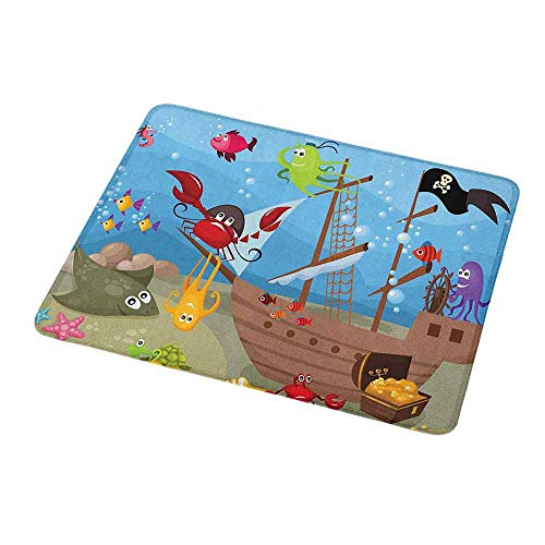 Personalized Custom Gaming Mouse Pad Pirate,Cartoon Ship Under The Sea Discovered by Sea Animals Treasure Chest Marine Adventure,Personalized Design Non-Slip Rubber Mouse pad 9.8
