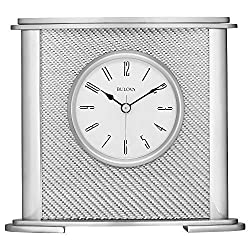 Bulova B5400 Hewitt Office Clock, Silver