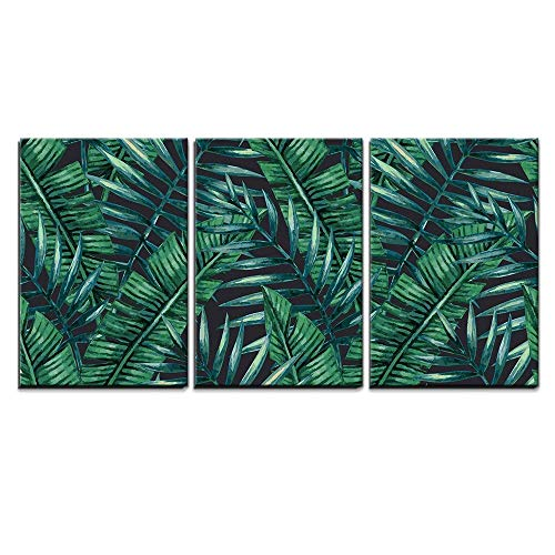 Watercolor Tropical Palm Leaves Seamless Pattern Vector Illustration x3 Panels