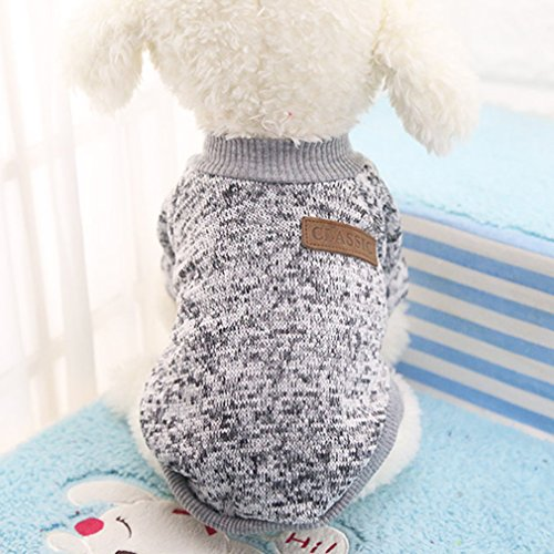 ULAKY Windproof Pet Dog Winter Warm Clothes Puppy Classic Sweater Coat Tops Fleece Warm Winter Knitwear Clothes
