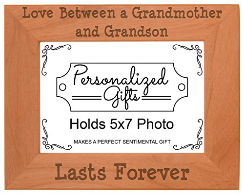 (Unique Gifts Grandma Love Between a Grandmother Grandson Lasts Forever Gift Ideas Grandma Natural Wood Engraved 5x7 Landscape Picture Frame)