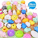 Joinart 28PCS Mochi Squishy Toys Random Mini Squishy Animal Squishy Party Favors for Kids Squeeze Toys Cat Unicon Squishy Stress Relief Toys for Adults Easter Egg Fillers Easter Gifts for Boys Girls
