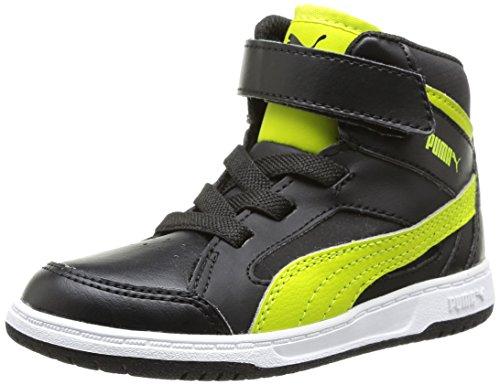 Puma Puma Rebound v2 Hi Kids - Zapatillas de material sintético para niño Black/Sulphur Spring