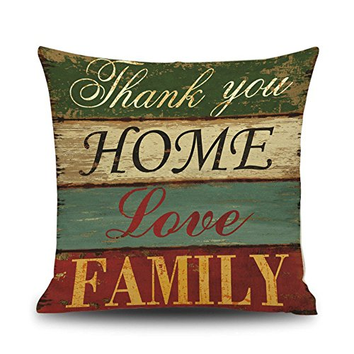 Littay Pillowcase 18inch x 18inch,Color Letters Printing Dyeing Sofa Bed Home Decor Pillow Case Cushion Cover ()