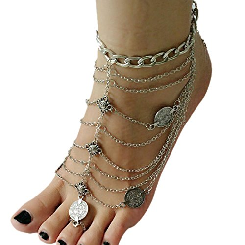 Miss Mara Bohemian Vintage Silver Coins Anklet Foot Jewelry Barefoot Sandal Anklet Chain (Silver) by Ms.Mara (Image #5)