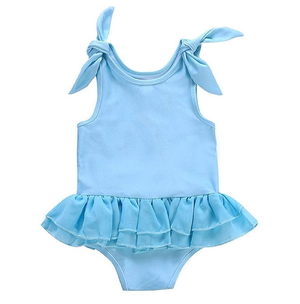 AMIYAN Baby Girls One-Piece Bikini Swimsuit with Cute Swan Toddler Sleeveless Ruffles Tutu Dress Beach Rashguard