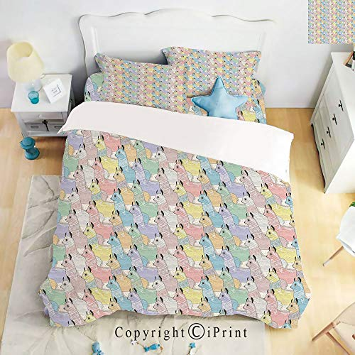 - Homenon Bedding 4 Piece Sheet,Cute Little Alpacas Pattern Soft Toned Camel Animal Kids Nursery Folk Print,Multicolor,Full Size,Suitable for Families,Hotels