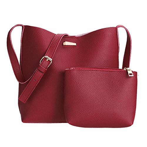 (Gowind7 Women Bag Barrel Shoulder Bag Handbag Tote PU Leather Bag 2Pcs)